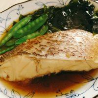 鯛の煮物、鶏軟骨塩炒め、大葉と沢庵の和え物、糸こんと明太子の辛煮。