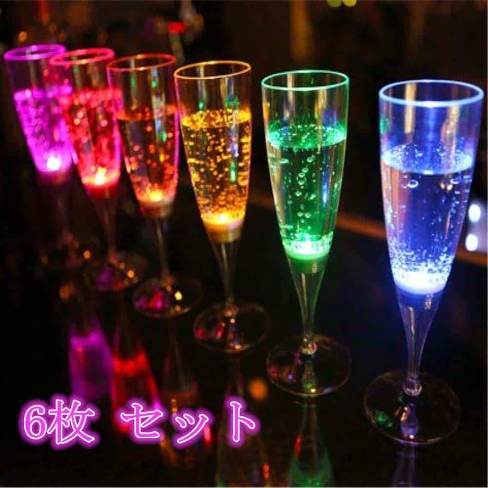 LED シャンパングラス コップ 6色 6個セット