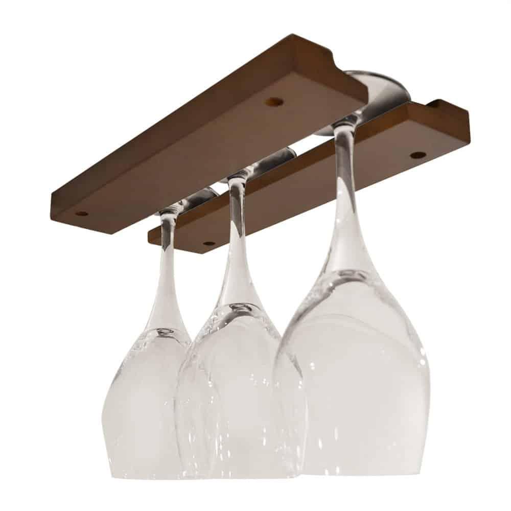ワイングラスホルダー 吊り下げ 10インチ 木製 ダークブラウン (基本セット)