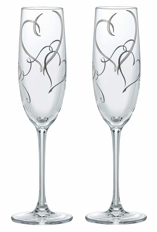 東洋佐々木ガラス ペアシャンパングラス シルバー 170ml ベネディーレ ハート柄 G453-S101 2個入り