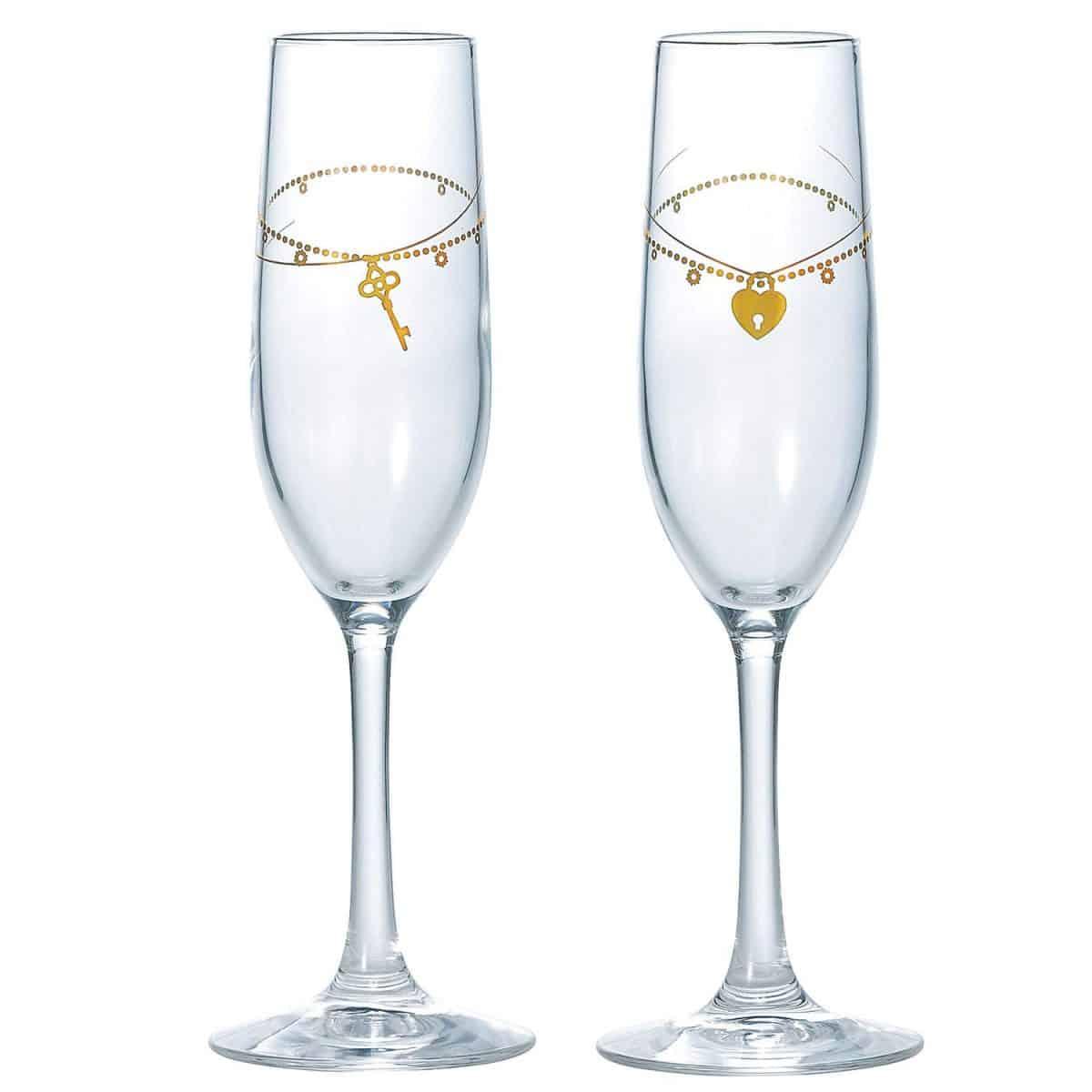 東洋佐々木ガラス ペアシャンパングラス ゴールド 170ml ベネディーレ キー&ロック 日本製 G098-S105 2個入り