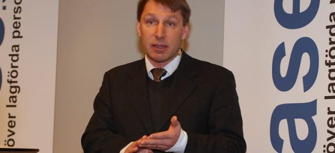 Pontus Ljunggren vid lanseringen av Lexbase