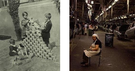 il caos che segue la sconfitta: a sinistra, bambini tedeschi giocano con pacchi di marchi svalutati. a destra: impianto industriale russo fatiscente nei primi anni 90