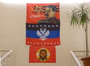"""Politica in Novorussia: """"Nei primi mesi della guerra soprattutto tra i soldati al fronte c'era una vivace iconografia di riferimento: dalle foto dello zar Nicola II, all'icona di Cristo, fino al ritratto di Stalin, con lo sdoganamento di tutta la simbologia sovietica."""" Foto di Eliseo Bertolasi"""