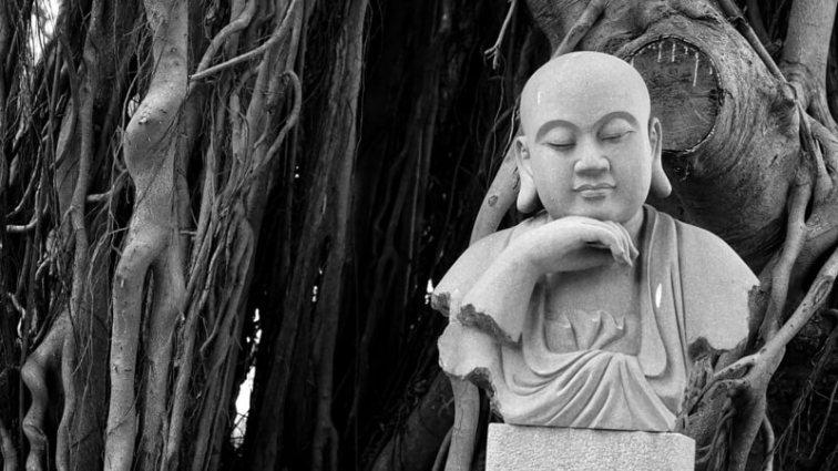 будда,черно-белая,