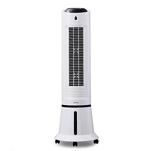 タワー式 冷風扇 扇風機 マイナスイオン 送風 涼風 保冷材付き リモコン付き ホワイト