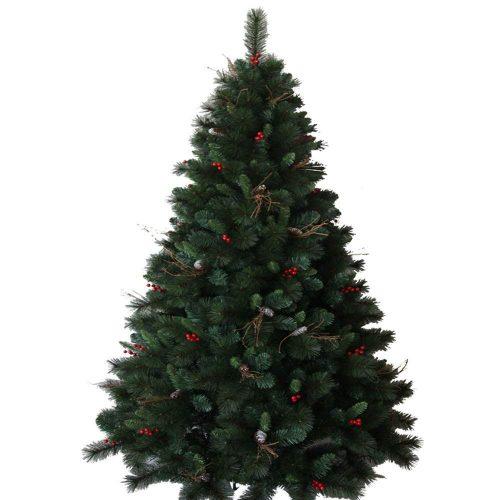 S-Branch 最高級リッチクリスマスツリー 210cm 赤い実と本物松ぼっくり付 ドイツ、ベルギー輸出専用21-R