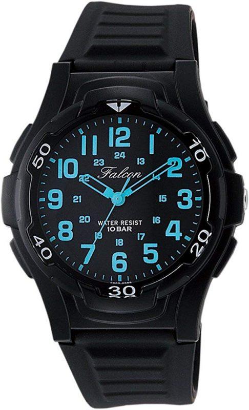 cf86f83c4d3e5f カジュアルな雰囲気が特徴の腕時計。ブラックの本体に、ブルーの文字が映えるスポーティーなデザインです。