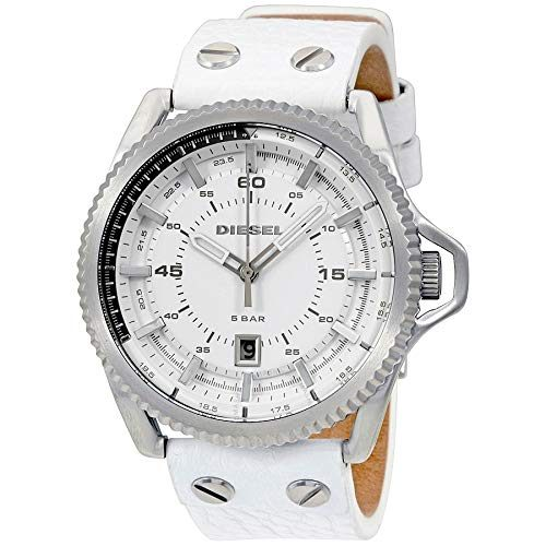 ディーゼル(DIESEL) Rollcage White Dial Leather Unisex Watch DZ1755