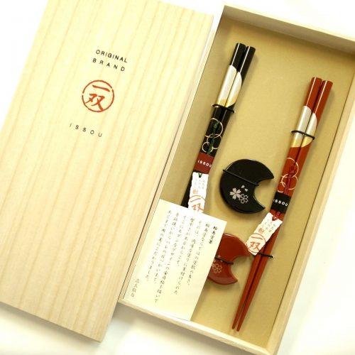 一双 輪島塗 宵待月 夫婦箸 箸置き 華桜セット