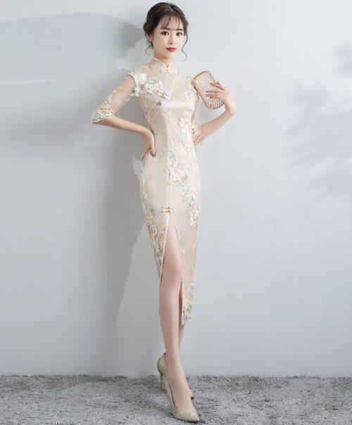 ムチュ(MUCHU) 刺繍チャイナドレス