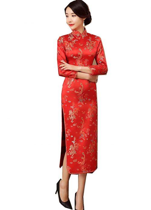 上海物語 梅の花柄 長袖チャイナドレス
