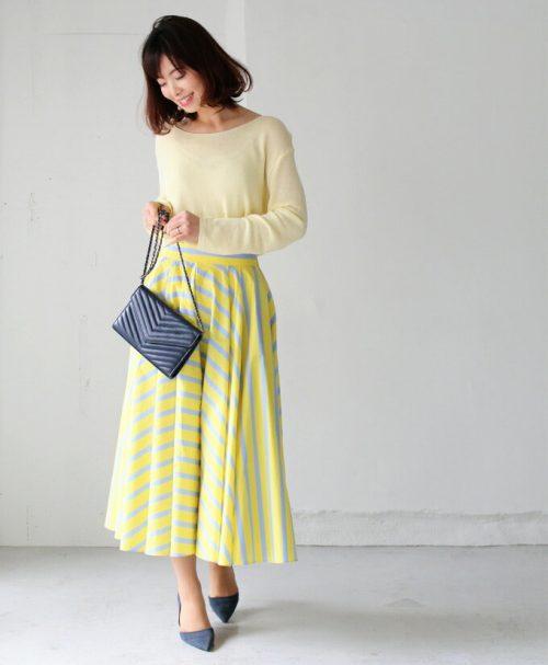 forme たっぷり生地感の贅沢ストライプスカート