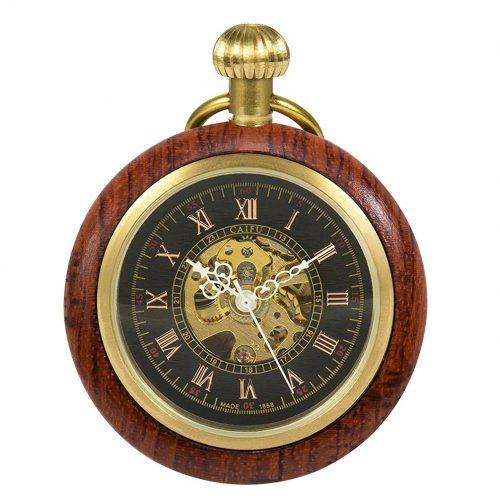 TREEWETO 木製 機械式懐中時計