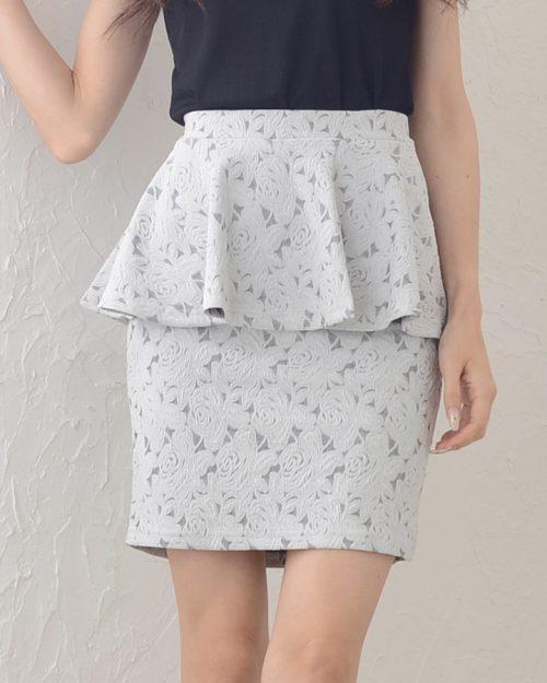R・L・O by milk way(アールエルオーバイ ミルキーウェイ) エンボスローズ柄ペプラムスカート
