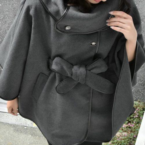 ハグユー(HUG.U)コート ポンチョ アウター ポンチョコート w410