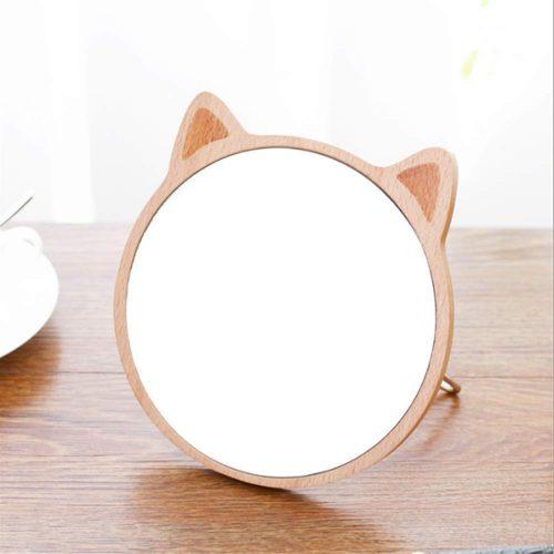 トリカラー(tricolor) 猫耳 木製卓上ミラー