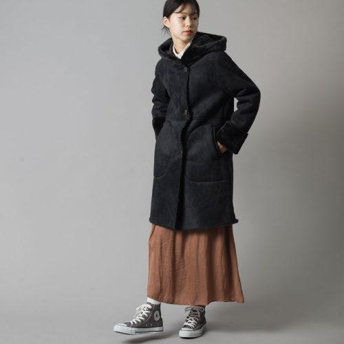haptic フェイクムートンフーデッドコート