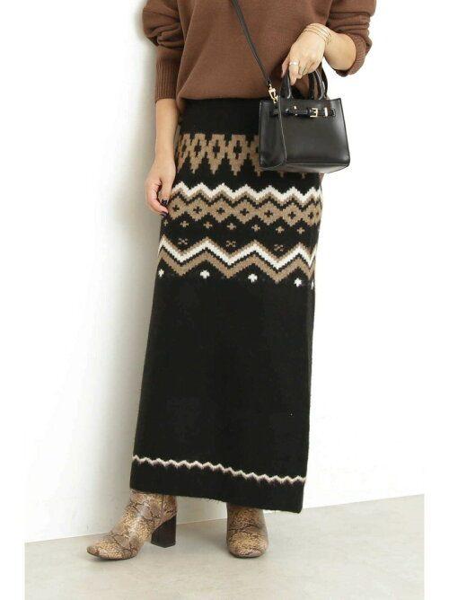 エヌ ナチュラルビューティーベーシック(N. Natural Beauty Basic) ネイティブジャガードニットスカート