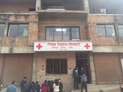 Entrance of Nepal Red Cross Society. Registering for blood donation