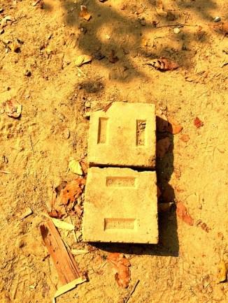 Compressed earth stabilized bricks.