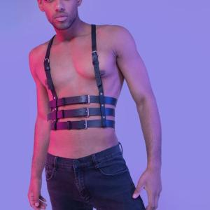 Seksi Erkek Dansçı Kostümü Deri Harness  APFTM17
