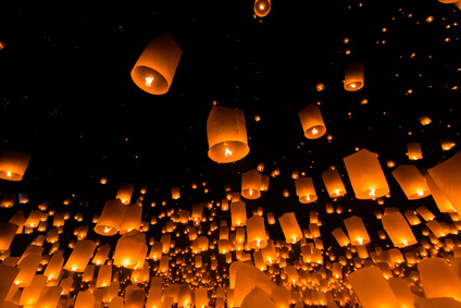 Floating lanterns in Chiangmai province in Thailand. It is the faith in Buddhism.