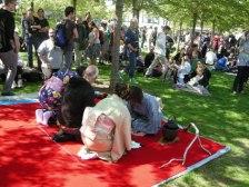 Experiencing tea-ceremony under the trees