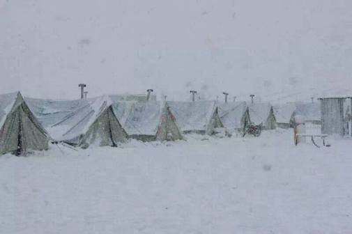 Snow at a camp in Lebanon