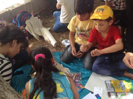 Arts and crafts time with the children in Madaba