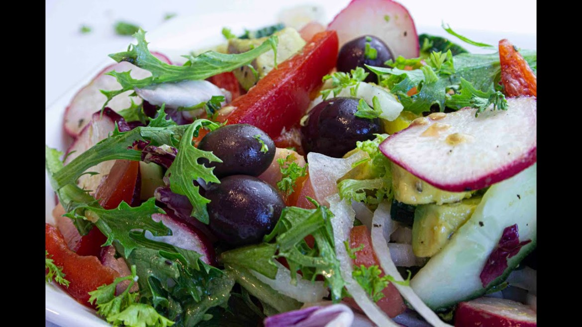 Healthy salad recipe  Step by step how to make a simple and healthy greek salad with 9 ingredients