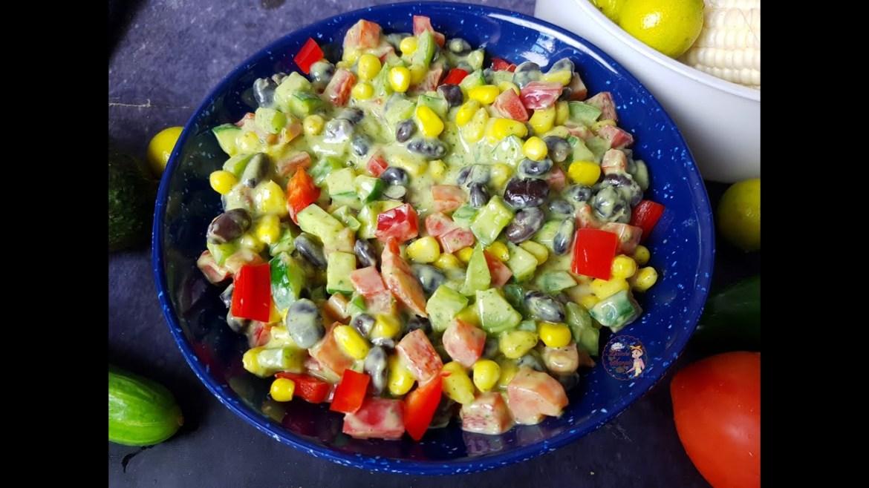 Instant Pot Mexican Beans Salad with Avocado Vinaigrette Dressing Vegan & Keto Everyday Salad