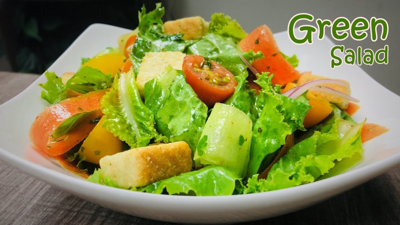 Green Salad Recipe | Vegetable Salad | Fresh Dressing