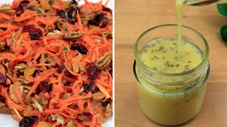 Carrot Salad with Oil Free Vegan Salad Dressing – Salade de Carottes – Sauce Maison sans Huile