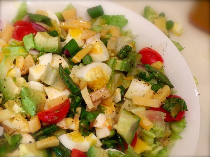 Chopped salad with hard boiled egg and smoked paprika vinaigrette