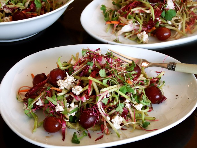 Slaw, Grapes & Goat Cheese Salad With Honey Ginger Dressing
