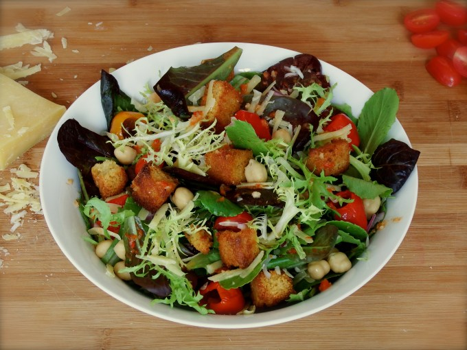 Tender Greens With Pimentos, Cornbread Croutons & Cheddar Cheese