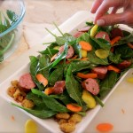 Spinach Chorizo Salad With Plantain Hash Browns