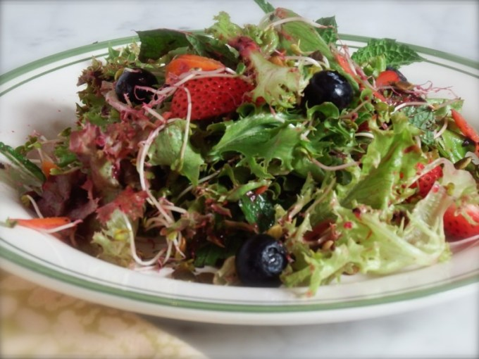 Baby Lettuces With Strawberries, Blueberries & Cranberry Vinaigrette