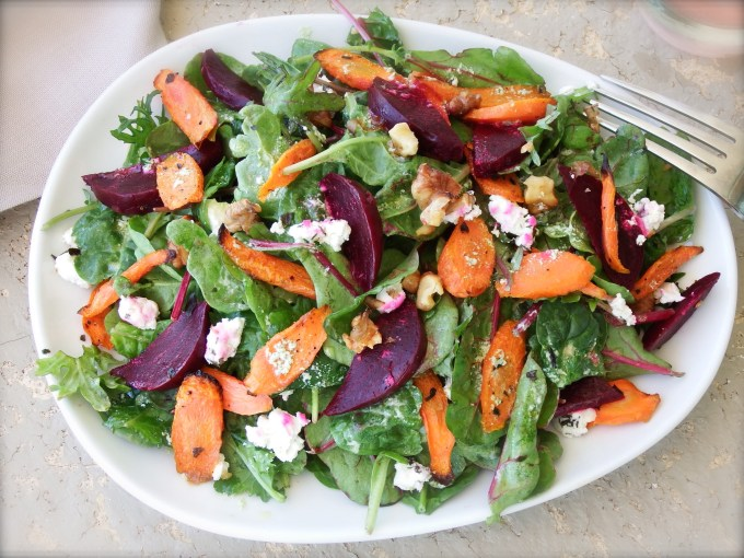 Beets & Roasted Carrots With Herbed Goat Cheese Dressing