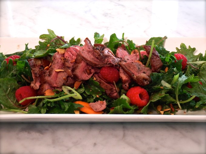 Duck Salad With Raspberries, Toasted Almonds & Savory Vinaigrette