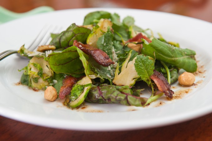 Hardy Greens with Seared Brussels Sprouts & Bacon Vinaigrette