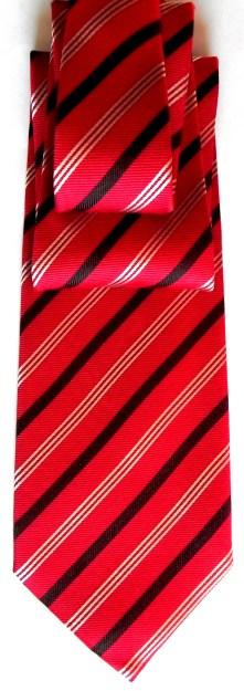 Silk/cashmere striped tie in red
