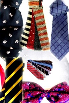Silk ties, bow ties, knit silk ties.