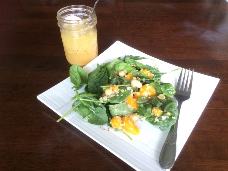 spinach and quinoa citrus salad with homemade citrus vinaigrette