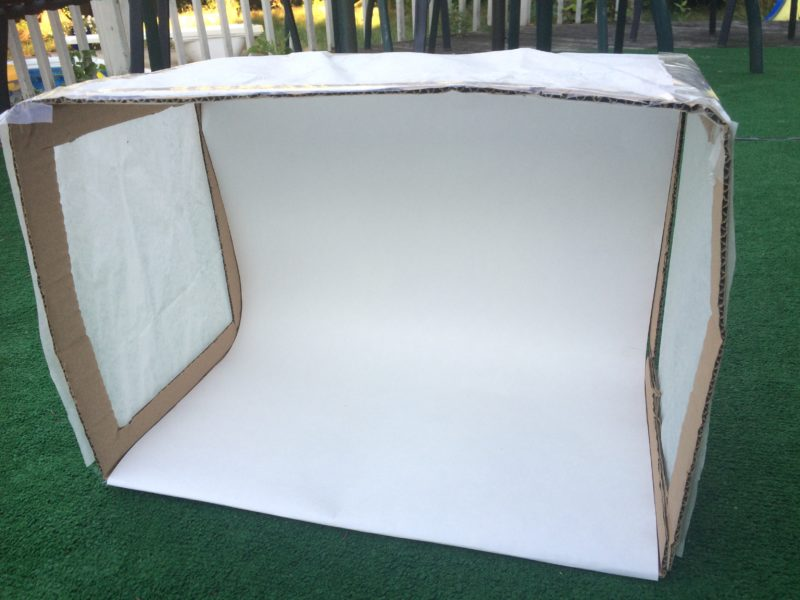 Lightbox for taking food pics - really easy to make: cut holes in a box, lay a piece of bristol board inside and cover the sides with tissue paper!