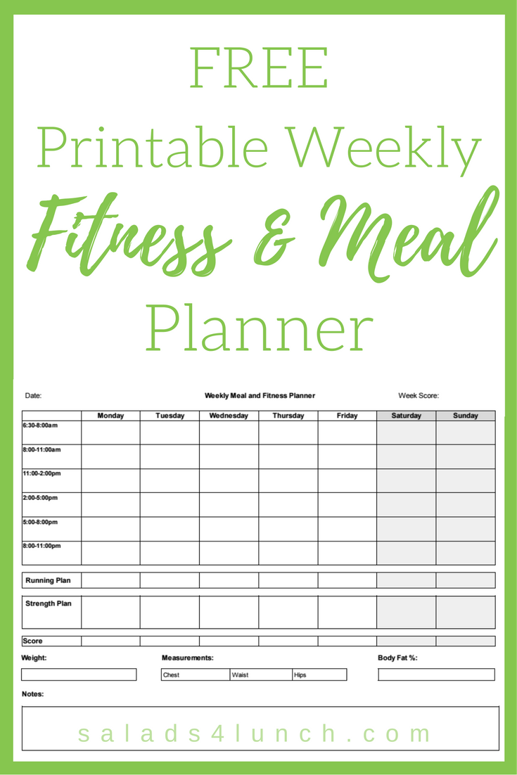 Free Printable Weekly Fitness and Meal Planner