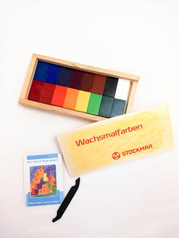 Stockmar Crayon Blocks Set of 16 in Wooden Box