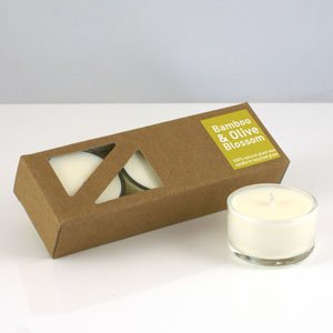 Heaven Scent Organic Tealights, pack of 3 - Bamboo and Olive Blossom scent