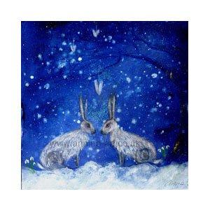 winter hares meet under snowy sky by Annie B
